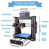 3D Printer, Perfectink A8 Prusa I3 DIY LCD Display Desktop 3D Printers Kit High Accuracy Self-Assembly Printing Device with 1.75mm ABS/PLA Filament(Build Size 200×200×180mm) from Perfectink