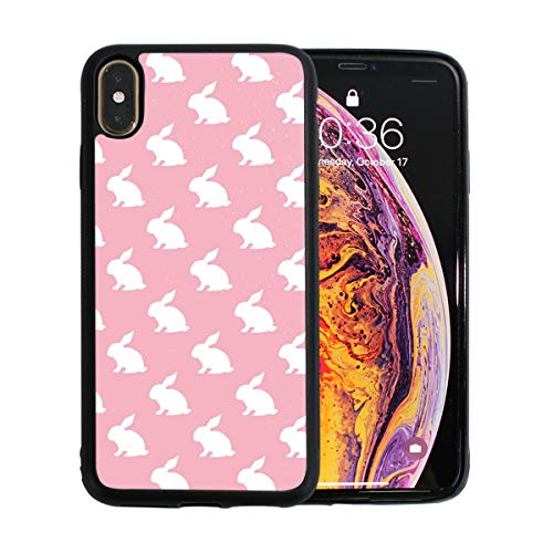 White Bunny Rabbit Pink Case for iPhone Xs 6.5-Inch Max Soft TPU Thin Cover Shock-Absorption Bumper Cover ()