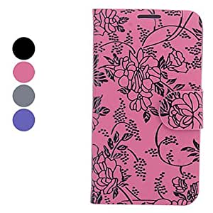 Flower Pattern Full Body Case with Stand and Card Slot for Samsung Galaxy Note 2 N7100 (Assorted Colors) --- COLOR:Pink