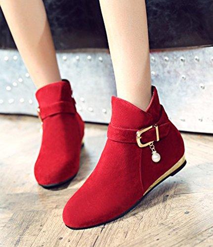 Aisun Femmes Mignonne Perlée Bout Rond Boucle Sangle Côté Fermeture Éclair Bas Talons Robe Cheville Bottes Chaussures Rouge