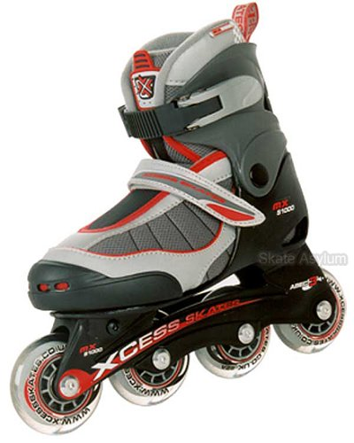Skate Asylum Junior Recreational Inline Skates - Mx S1000 Adjustable - Red Trim - Size Large (Uk3 - UK5)