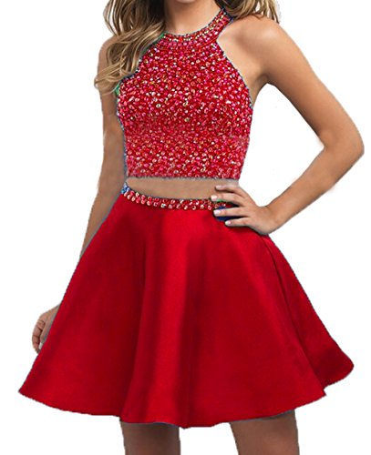 BD303 Red Satin Beaded BessDress Two Dresses Piece Halter Homecoming Ball Party Short Formal PqxRwC4S