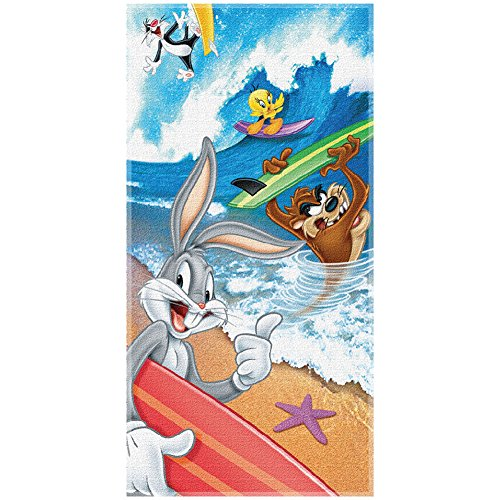 Looney Tunes Bugs Tweety Taz Sylvester Surf Beach Pool Gym Bath-Time Towel