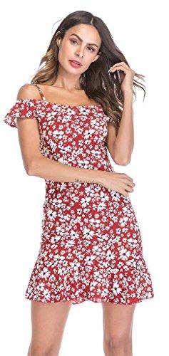 Women's Cold Red Strap Ababalaya Dress Spaghetti Mini Mermaid Shoulder Ruffle Sexy Floral dIdqS