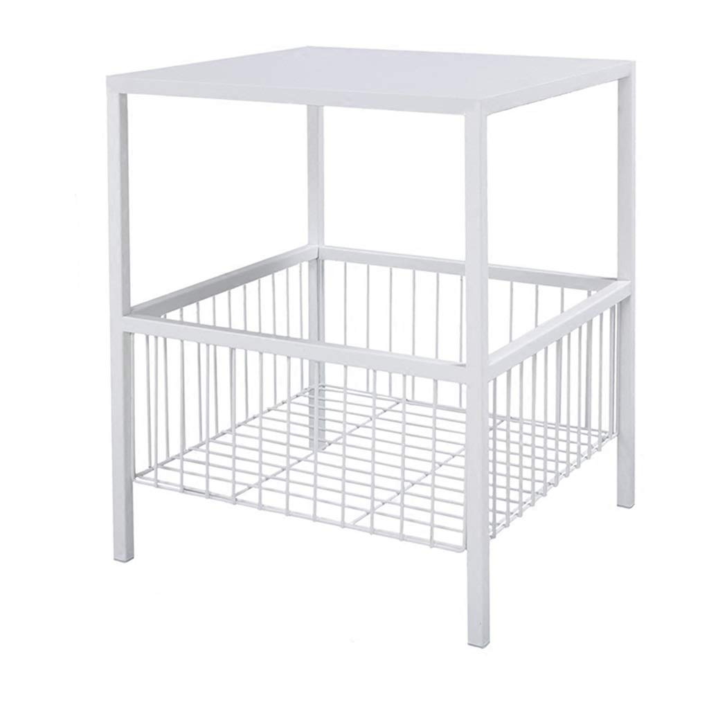LQQGXLBedside Table Wrought Iron Coffee Table Living Room Bedroom Square Small Coffee Table with Storage Function White Small Side Table by LQQGXL