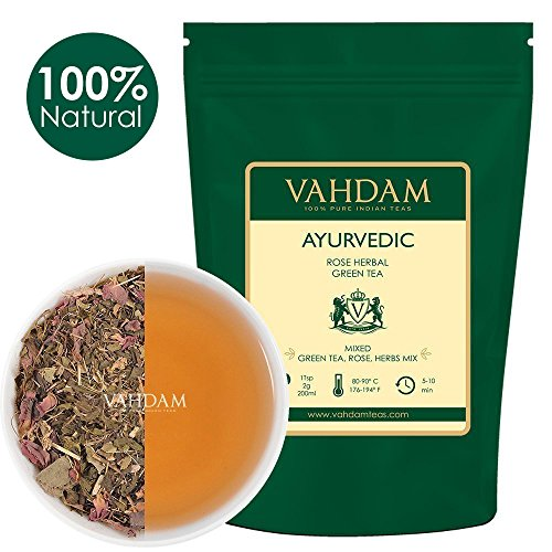 VAHDAM, Ayurvedic Rose Herbal Green Tea Loose Leaf (50 Cups) | Herbal Tea Loose With 20+ Healing Herbs & Pure Green Tea Leaves | RICH, HEALTHY & TASTY | Rose Tea | Brew as Hot Tea or Iced Tea | 3.53oz