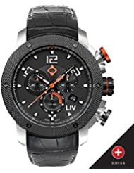 New LIV GX1 Swiss Chronograph Steel Case Black Dial White Numbers 1220.45.114.A500