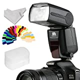 PIXEL Wireless Speedlite Flash GN60 LCD Flash Modes for All Standard Hotshoe Canon Nikon Pentax Fujifilm Panasonic Olympus Digital SLR Camera+INSEESI Clean Cloth+Color Gels