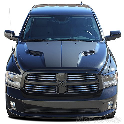 MoProAuto Pro Design Series RAM HEMI Hood Graphic : 2009-2018 Dodge Ram Split Center Hemi Style Hood Vinyl Graphic Decal Stripes (FITS HEMI Models) (Color-3M 5095 Matte Black)