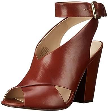 Nine West Women's Ombray Leather Heeled Sandal, Dark Natural, 6.5 M US