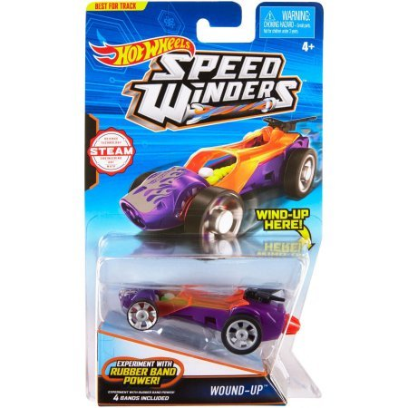 Hot Wheels Speed Winders Wound-Up Vehicle PLUS Hot Wheels Speed Winders Rubber Burner Vehicle Bundle of (Rubber Band Winder)