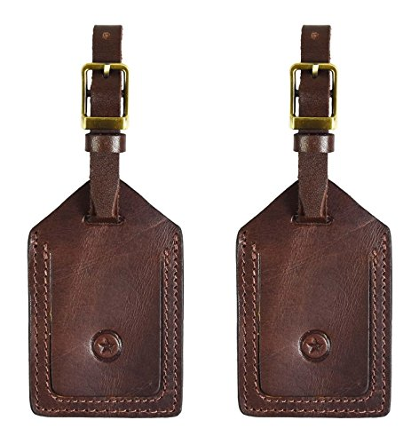 Aaron Leather Leather Luggage Bag Tags | Privacy Flap Travel ID Case | Suitcase Name Tags By (Carob Brown)
