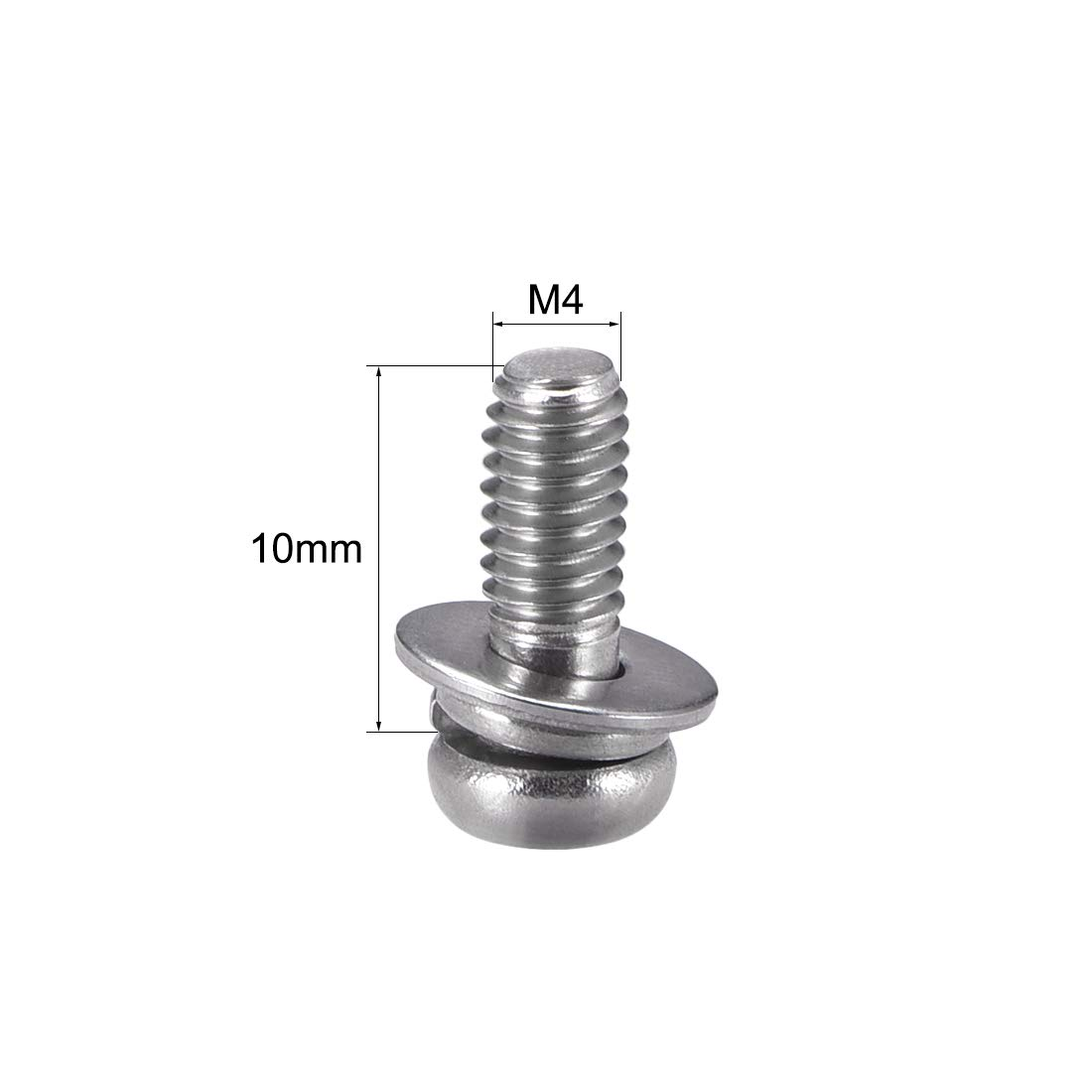 uxcell M4 x 10mm Stainless Steel Phillips Pan Head Machine Screws Bolts Combine with Spring Washer and Plain Washers 10pcs