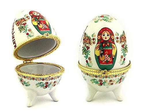 Keepsake Porcelain Doll - Matryoshka Porcelain Egg Shape Open Up Jewelry Decorative Keepsake Box 3 1/2 Inch