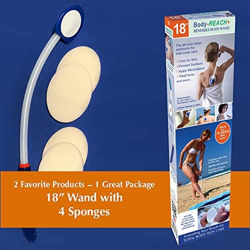 "18"" Semi-flex Body-Reach+ Bendable Unbreakable Lotion Applicator includes (4) Sponges"