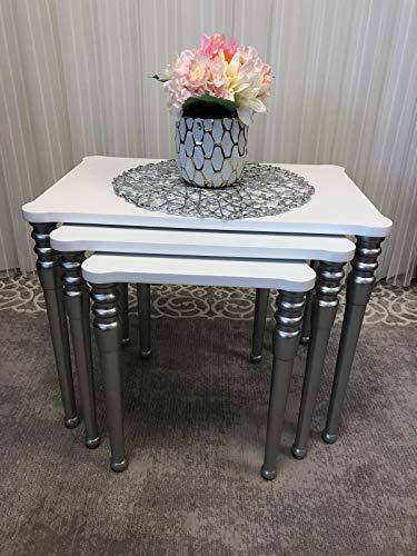 Cappucino Living Room Set - SavaHome Modern, Lightweight, Stackable Set of 3 Cappucino Cream Rectengular Nesting Table