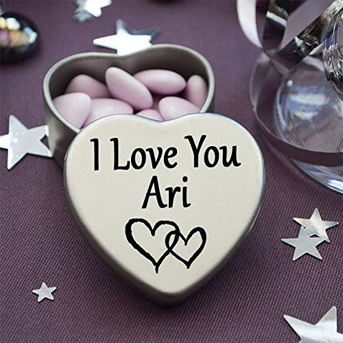 Great as a birthday present or a gift to show someone special how much you love them I Love You Ari Mini heart shaped silver gift tin filled with mini chocolates