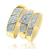 His and Her Trio Rings Set Yellow Gold 0.6cttw Square Shaped Square Top( 0.6cttw)