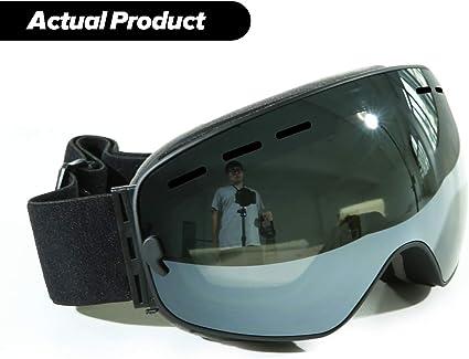 Frameless Spherical Ski Snow Goggles Double Lens Anti Fog UV400 Goggle with Case