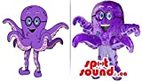 Cute Purple Octopus Plush Mascot SpotSound US And Drawing Dressed In Glasses
