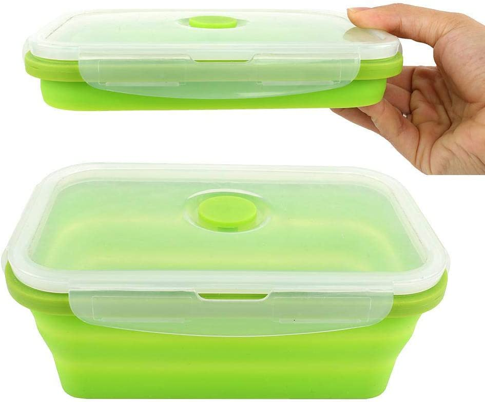 Silicone Lunch Box Leak Proof Collapsible Food Storage Meal Prep Container, BPA Free, Microwave Oven Dishwasher Freezer Safe, 750ML(1 Pack)