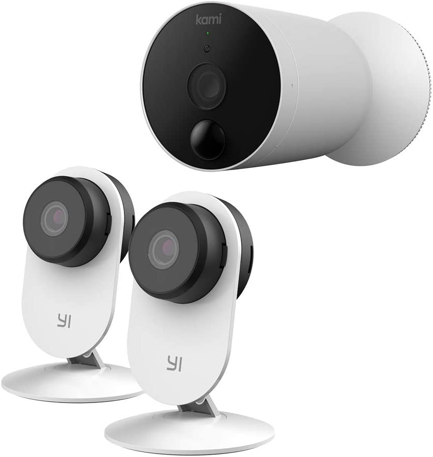 YI Smart AI Indoor Security Camera 2pc and kami Wireless Outdoor Camera Bundle Set, Home Surveillance System with Motion Detection and APP Alerts
