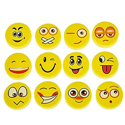 Rhode Island Novelty Lot of 72 Assorted Round Emoji Face Erasers: Office Products