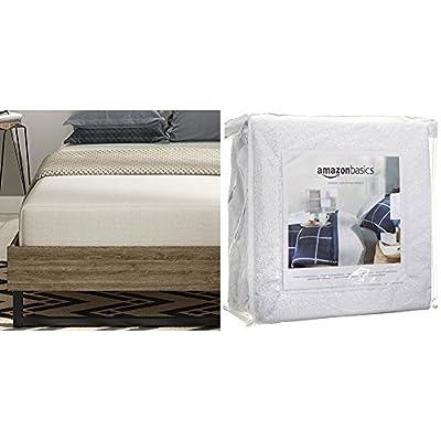 Signature Sleep Memoir 10 Inch Memory Foam Mattress with CertiPUR-US certified foam, Twin with AmazonBasics Hypoallergenic Vinyl-Free Waterproof Mattress Protector, Twin