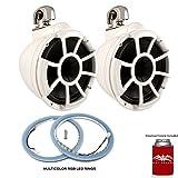 Wet Sounds REV 10 Swivel Clamp Tower Speakers with LEDKITREV10-RGB RGB LED Speaker Rings - White