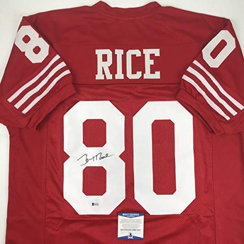 (Autographed/Signed Jerry Rice San Francisco Red Football Jersey Beckett BAS COA)