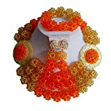 laanc 3 Rows Highly Jewelry Sets Orange and Gold Champagne Nigerian Wedding African Beads A-033K