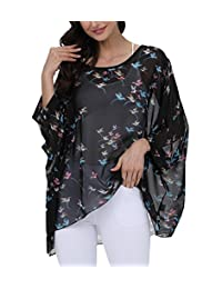 Myosotis510 Women's Chiffon Caftan Poncho Tunic Top Cover up One Size Scarf Top