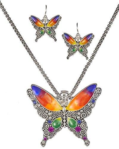 Jewelry Nexus Silver-Tone Pink Yellow Orange Blue Butterfly Pendant Popcorn Chain & Matching Earrings
