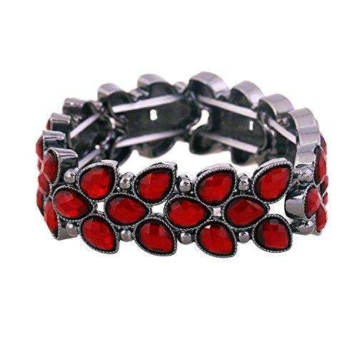 Red Stretch Bracelet - D EXCEED Women's Fashion Resin Stone Bracelet Gift Idea Trendy Cute Leaf Shaped Bangle Bracelet Crystal Stretch Bracelet for Women 7