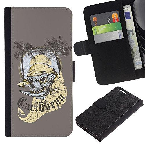 EuroCase - Apple Iphone 6 PLUS 5.5 - The Carribean Pirate Skull Ghost - Cuir PU Coverture Shell Armure Coque Coq Cas Etui Housse Case Cover