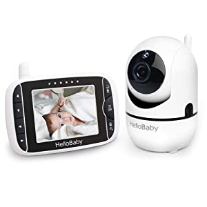 HelloBaby Wireless Video Baby Monitor with 3.2Inch LCD Display 960feet Transmission Range, Remote Camera Pan, Two-Way Talkback System, Infrared Night Vision, Rechargeable Battery, Lullabies