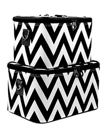 Print Train Case - Chevron Print 2 Piece Train Case Luggage Set Toiletry Cosmetic Makeup Bag (Black)