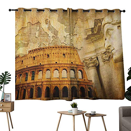 "Mannwarehouse Retro Curtain for Kids Roman Empire Concept Famous Columns Sculptress Colosseum Map of The Nation Print Set of Two Panels 55"" Wx39 L Orange Brown"
