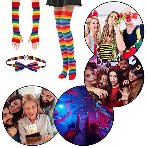 BigOtters Rainbow Socks, 3PCS Colorful Striped Costume Set Knee High Socks Arm Warmer Fingerless Gloves and Bow Tie for Boys Girls Halloween Cosplay Xmas Dress-up Party Favor