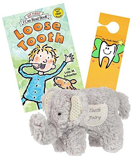 Maison Chic Boys Tooth Fairy Plush Elephant Pillow w/ Loose Tooth a Tooth Fairy Book & Tooth Fairy Door Hanger Set