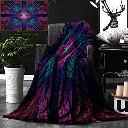 Unique Custom Digital Print Flannel Blankets Fractal Psychedelic Colorful Sacred Symmetrical Stained Glass Figure Vibrant Artsy Des Super Soft Blanketry for Bed Couch, Twin Size 80 x 60 Inches ()