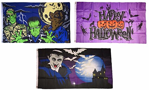 ALBATROS 3 ft x 5 ft Happy Halloween 3 Pack Flag Set #18 Combo Banner Grommets for Home and Parades, Official Party, All Weather Indoors Outdoors]()