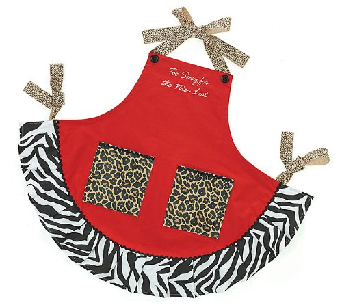 """Adult Jingle Jungle """"Too Sexy For The Nice List"""" Apron with Leopard Pockets and Zebra Trim -Christmas Holiday Accessory Gift"""