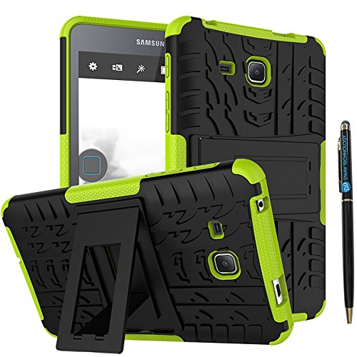 Tab A 7 Inch Armor Case DWaybox 2in1 Combo Hybrid Rugged Heavy Duty Hard Back Case Cover with Kickstand for Samsung Galaxy Tab A 7.0 Inch 2016 SM-T280 / T285 / Samsung Tab A6 A7 7.0 (Green)