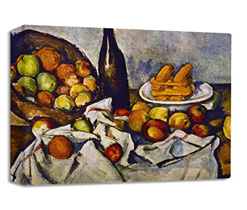 Apple Basket (Cezanne) Streched Canvas Wrap Frame Print Wall Décor - Full Border, 48