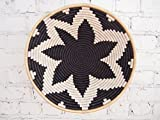 16'' X-Large African Basket- Chwele / Rwanda Basket / Woven Bowl / Sisal & Sweetgrass Basket / Black, White, Tan