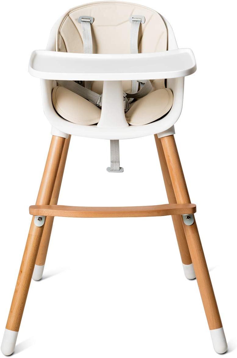 COSTWAY Chaise Haute B/éb/é Convertible2 en 1 Forme-A Stable HauteurR/églable avec Coussin Amovible,Repose-Pieds et Plateau pour B/éb/é 6 Mois-3Ans Charge 15KG