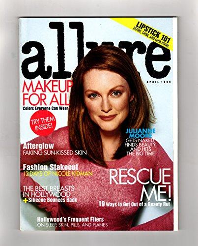 Allure Magazine - April, 1999. Julianne Moore Cover. Cosmetic Samples. Penelope Cruz, Nicole Kidman, Star Jones, Diane Lane, Best Breasts in Hollywood, Lipstick (Allure Magazine Best Beauty)