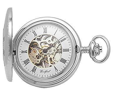 woodford skeleton half hunter pocket watch 1020 men s chrome woodford skeleton half hunter pocket watch 1020 men s chrome finished wth chain