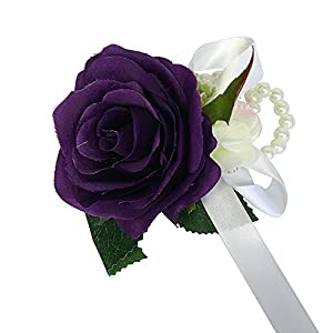 Angel Isabella Wrist Corsage with Pearl Wristband-Artificial Roses Hydrangea (Purple) 68